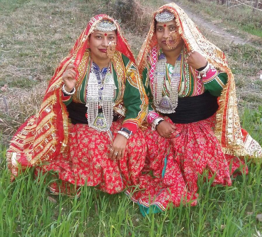 Gaddi Sisters in traditional dress ready for Chhak (pre-Wedding) Ceremony - Palampur, India
